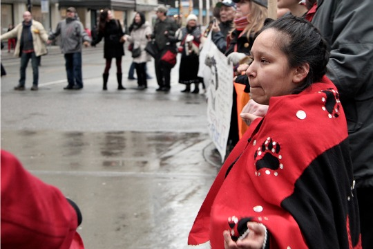 A circle dance that took place in downtown Vancouver in December, during the height of the Idle No More protests. (Photo: Flickr | tamara herman)