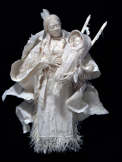 paper-art mother and baby