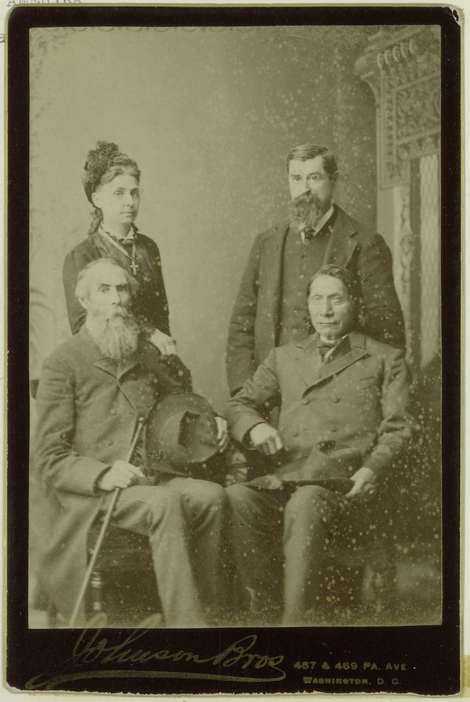 Thomas and Cora Bland with Red Cloud and interpreter named Randall