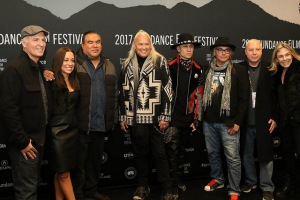 Director Alfonso Maiorana, Producer Christina Fon, Filmmaker Chris Eyre, Musician Ricky Medlocke, Rapper Taboo, Executive Producer Ernest Webb, Executive Producer Tim Johnson and Director Catherine Bainbridge attend the World premiere of RUMBLE: The Indians Who Rocked the World by Alfonso Maiorana and Catherine Bainbridge, an official selection of the World Cinema Documentary Competition at the 2017 Sundance Film Festival. © 2017 Sundance Institute | photo by Abbey Hoekzema.