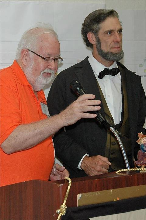 Charles (left) and an actor playing Abe Lincoln.